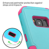 For Samsung Galaxy S8 Natural Teal Green/Electric Pink TUFF Hybrid Cover w/Stand