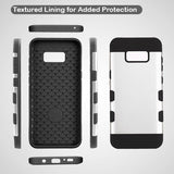 For Samsung Galaxy S8 Rubberized Space Silver/Black TUFF Trooper Hybrid Cover