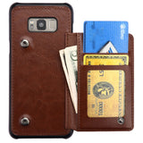 For Samsung Galaxy S8 Plus Brown Flip Wallet Executive Cover with Snap Fasteners