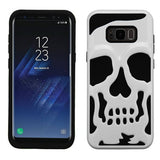 For Samsung Galaxy S8 Plus Ivory White/Black Skullcap Protector Cover w/Stand