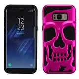 For Samsung Galaxy S8 Plus Metallic Hot Pink/Black Skullcap Hybrid Cover w/Stand