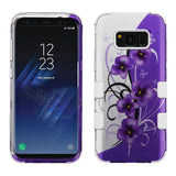 For Samsung Galaxy S8 Plus Twilight Petunias/White Hybrid Phone Protector Cover