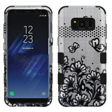 For Samsung Galaxy S8 Plus Black Lace Flowers/Black TUFF Phone Protector Cover