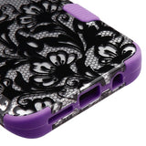For Samsung Galaxy S8 Plus Black Lace Flowers/Electric Purple TUFF Hybrid Cover