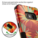 For Samsung Galaxy S8 Plus Red Palm Paradise/Black Hybrid Phone Protector Cover
