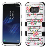For Samsung Galaxy S8 Plus Pink Fresh Roses/Black Hybrid Phone Protector Cover