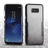 For Samsung Galaxy S8 Plus Metallic Black/Smoke Gradient Silver Glitter Cover
