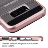 For Samsung Galaxy S8 Plus Metallic Rose Gold/Clear TUFF Brushed Panoview Cover