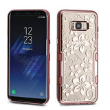 For Samsung Galaxy S8 Plus Metallic Rose Gold Hibiscus TUFF Panoview Case Cover