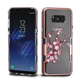 For Samsung Galaxy S8 Plus Metallic Rose Gold/Spring Flowers TUFF Panoview Case