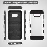 For Samsung Galaxy S8 Plus Rubberized Space Silver/Black TUFF Trooper Case Cover