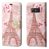 For Samsung Galaxy S8 Plus Eiffel Tower Diamante MyJacket Wallet Case with Belt