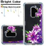 For Samsung Galaxy S9 Plus Purple Lillies/Purple Quicksand Glitter Case Cover