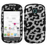For T599 Galaxy Exhibit Black Leopard (2D Silver)/Black TUFF Hybrid Case Cover