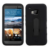 For HTC One M9 Black Hybrid Rugged +Silicone Cover Protector Case +Stand