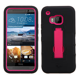 For HTC One M9 Black/Hot Pink Hybrid Rugged +Silicone Cover Protector Case +Stand