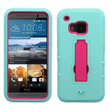 For HTC One M9 Teal/Hot Pink Hybrid Rugged +Silicone Cover Protector Case +Stand