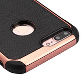 For iPhone 7 / 8 Plus Black Lychee Grain Rose Gold Plating/Black Astronoot Cover