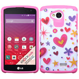 For LG Transpyre White/Pink Hearts Astronoot Impact Protector Cover Case