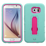 For Samsung Galaxy S6 G920 Teal/Hot Pink +Rugged Silicone Case Cover +Stand