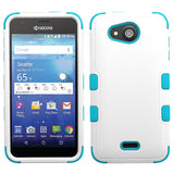 For Kyocera Wave C6740 White/Teal Hybrid TUFF Hard Protective Cover Case