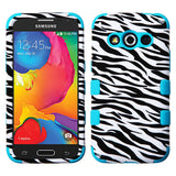 For Samsung Galaxy Avant G386T Hybrid TUFF Rubber Hard Case Zebra Black/Teal