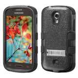 For Galaxy Galaxy Light Black Hybrid TUFF Impact Cover Case +Built-In Stand