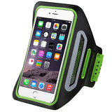 Green/Black Vertical Pouch Sports Arm Band w/ Card Slot Holder Mobile Device