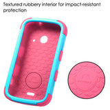 For ZTE Prelude 2 Teal/Pink Rugged TUFF Impact Cover Case +Built-In Stand