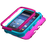 Hot Pink/Teal Blue Impact Hybrid Protector TUFF Case for ZTE Z730 Concord II