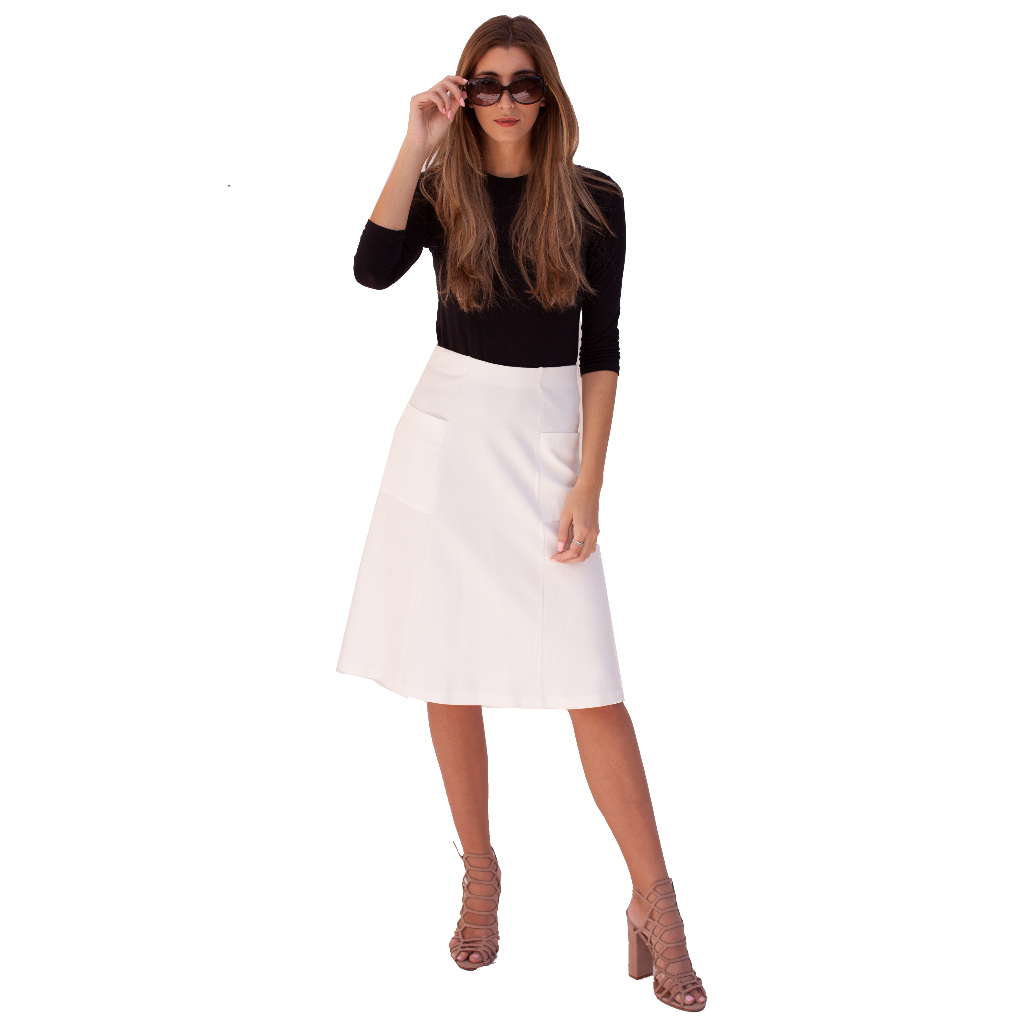 Pocket Ponte Skirt 25""