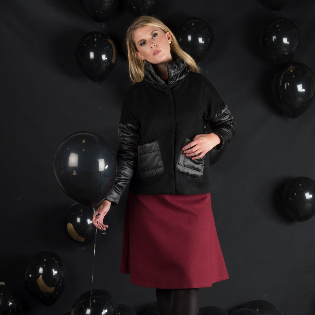 Puffy Sleeve Snap Front Jacket