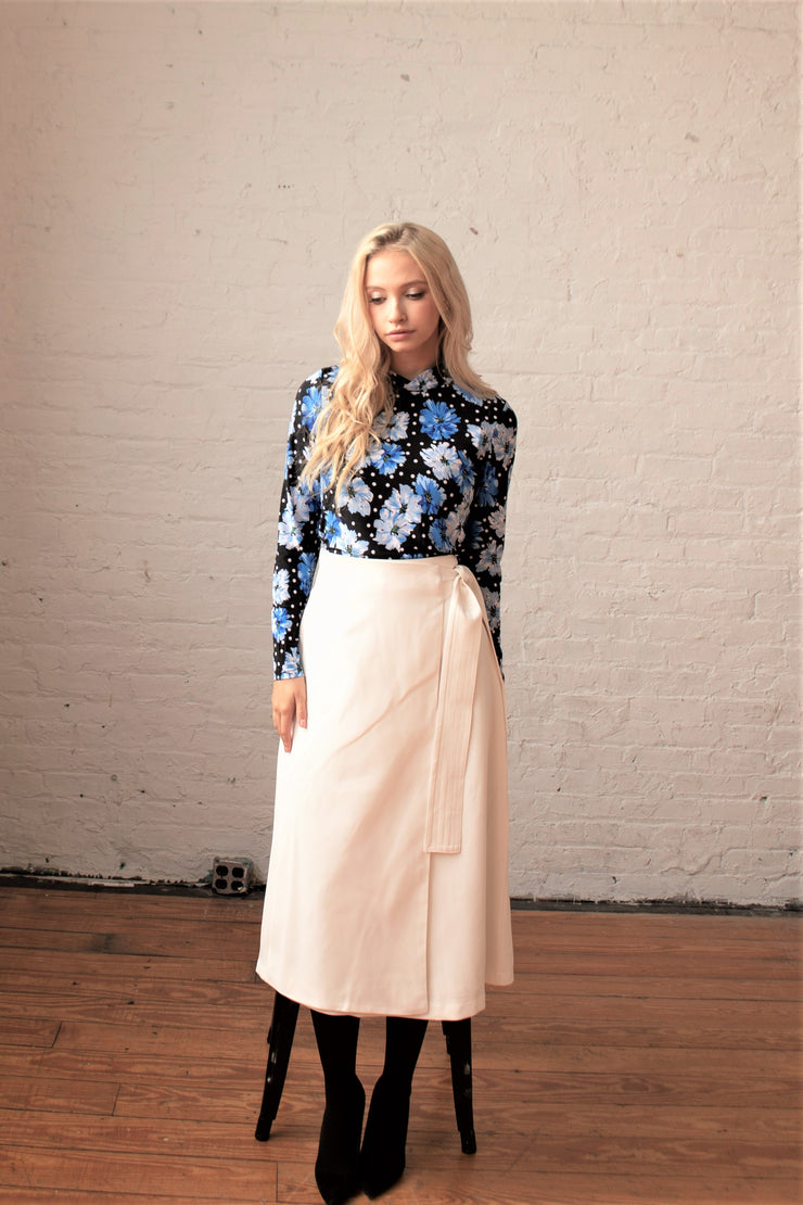 Stitch Attached Belt Skirt - Ivory