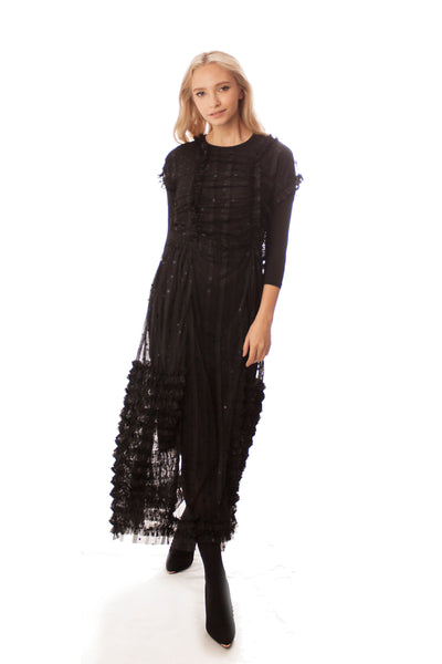 Sheer Overlay Ruffles Dress