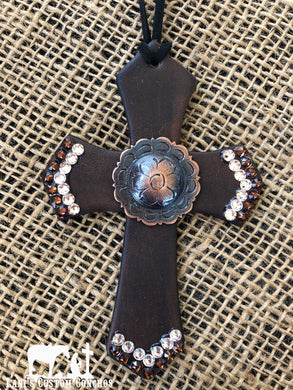 Neutral Floral Saddle Cross
