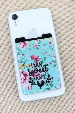Blue Floral Farm Sweet Farm Phone Pocket
