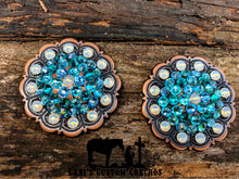 Light Turquoise, Blue Zircon, Aquamarine, & White Opal Scalloped Floral