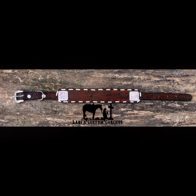 Dark Stain Buck Stitch Dog Collar