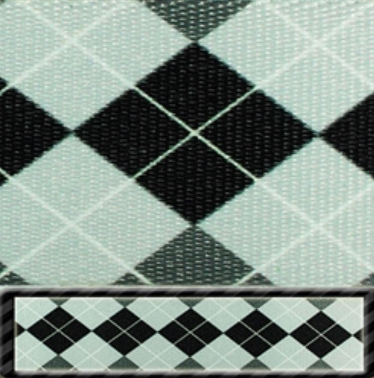 Black & White Argyle Latigo & Off Billet Set