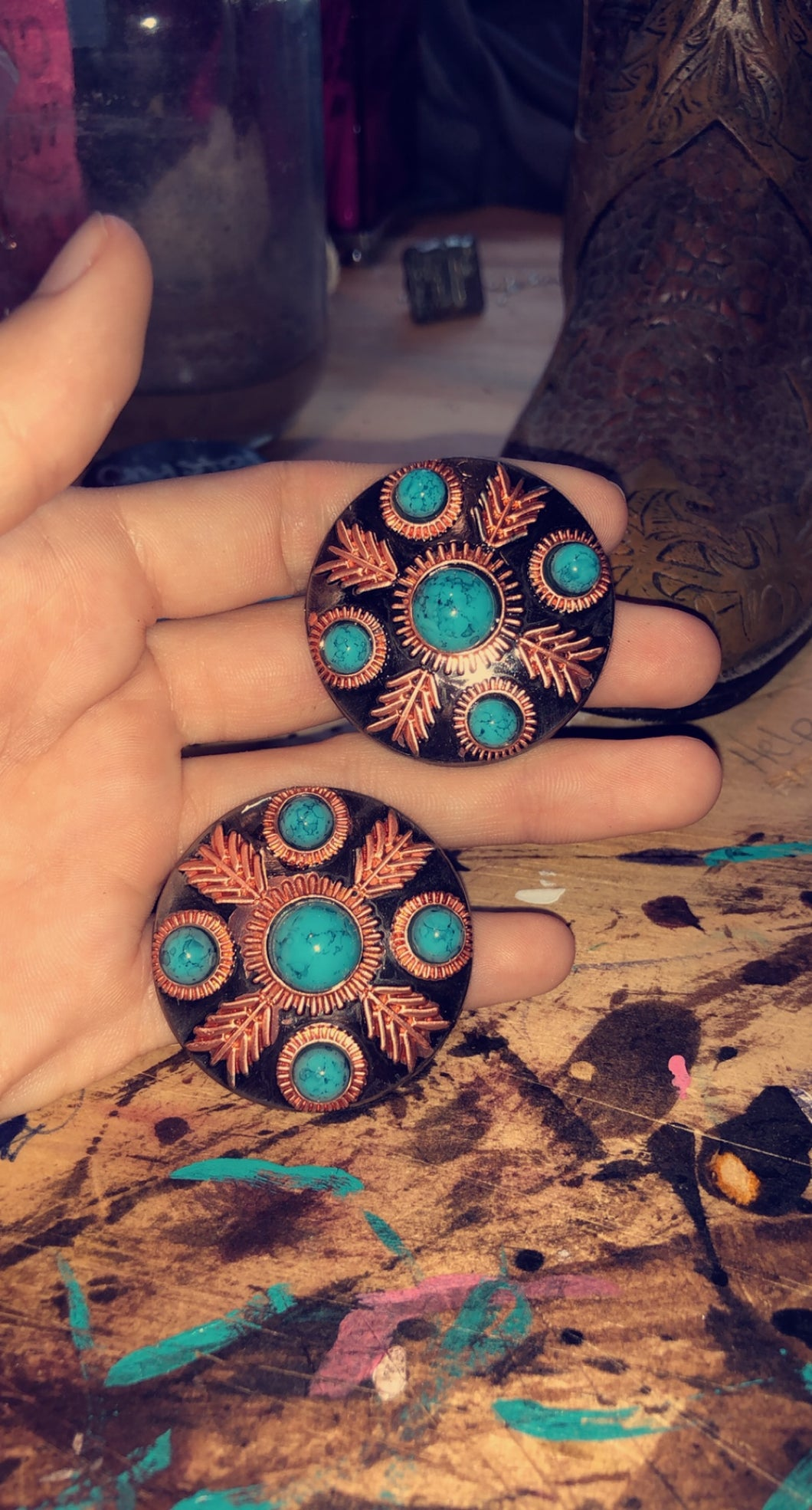 Turquoise Stone Feather Concho