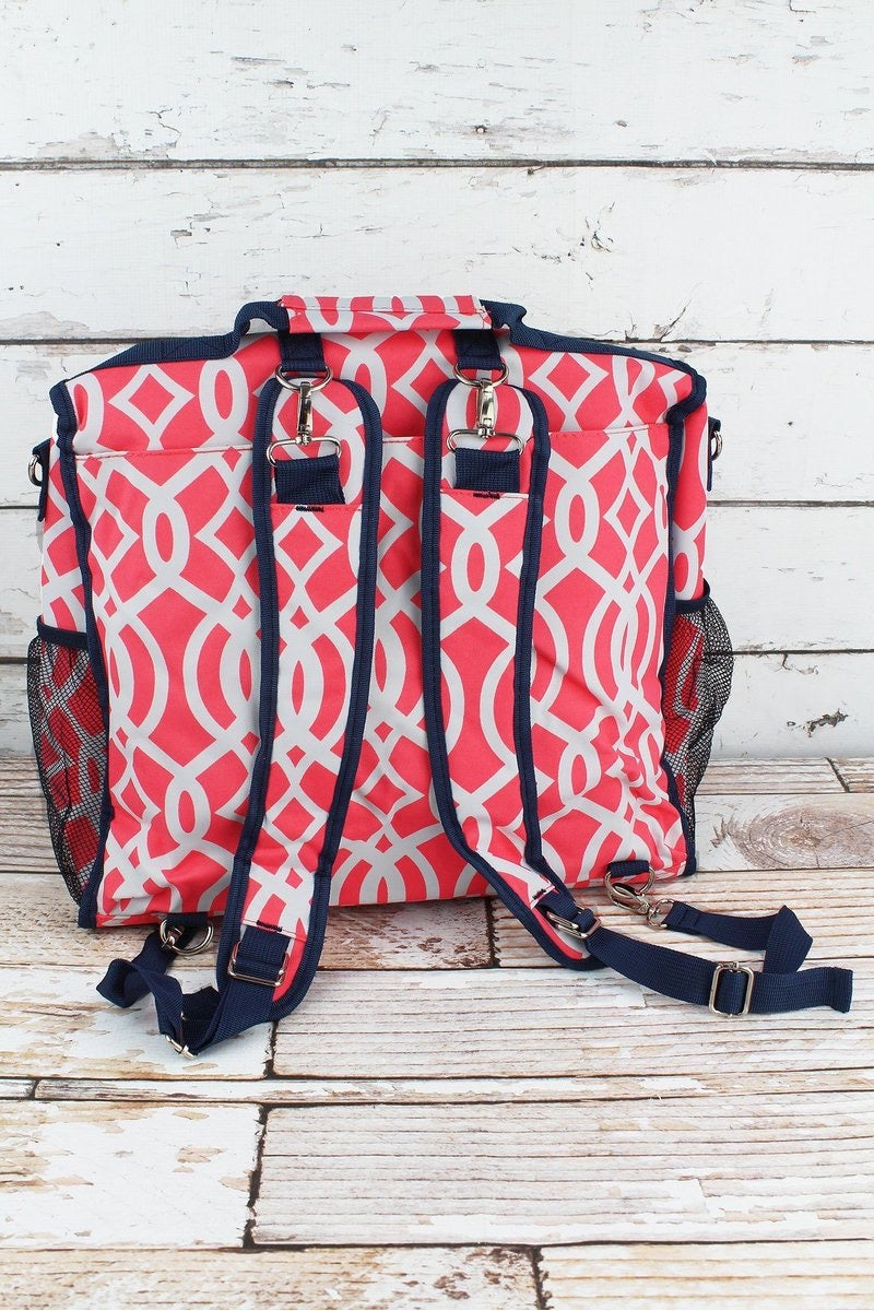 Coral Trellis Diaper Backpack