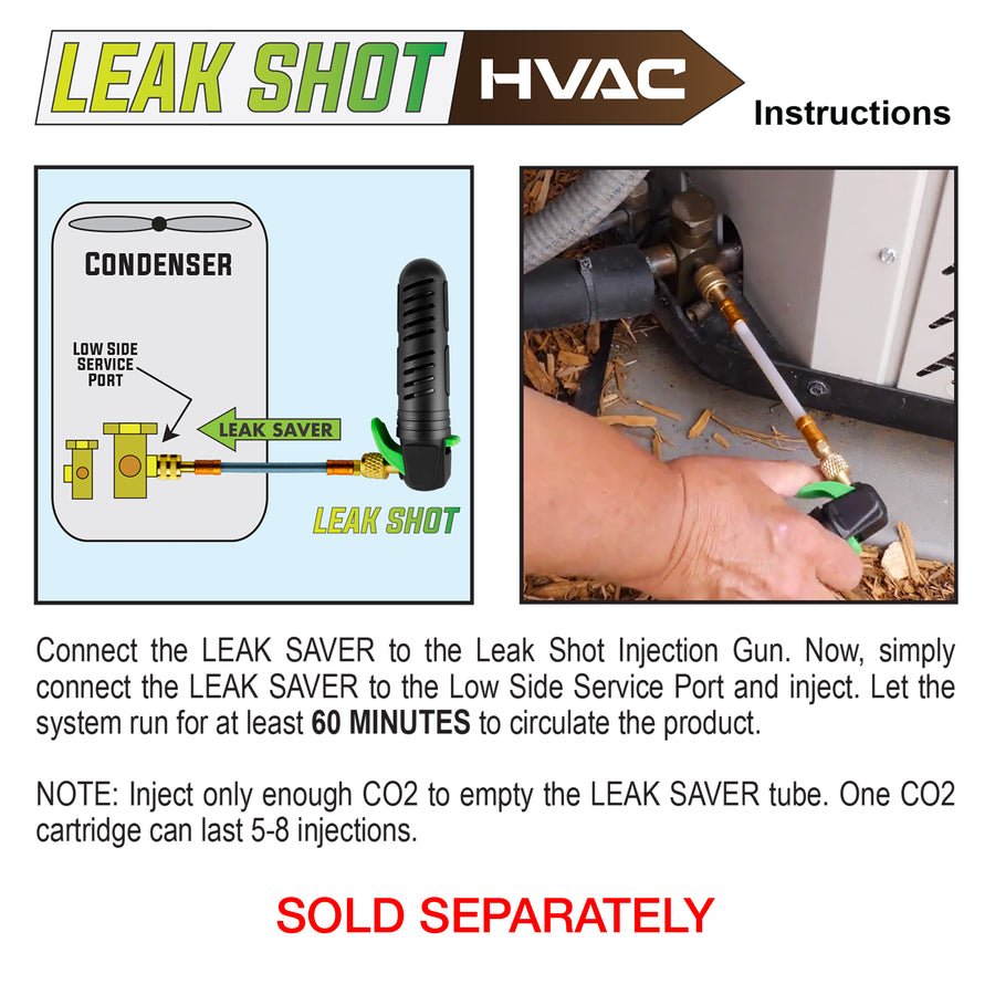 Leak Savers refrigeration Direct Inject Sealant leak stop HVAC leak sealer installation method push hvac leak shot