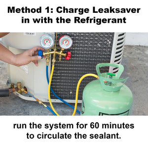 Leak Savers refrigeration Direct Inject Sealant leak stop HVAC leak sealer installation method charge with refrigerant