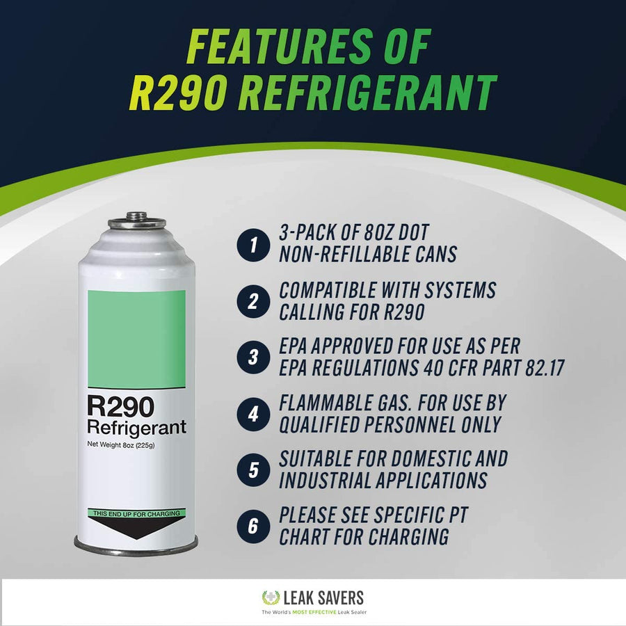 Refrigerant R290 - 3 Pack - EPA Approved