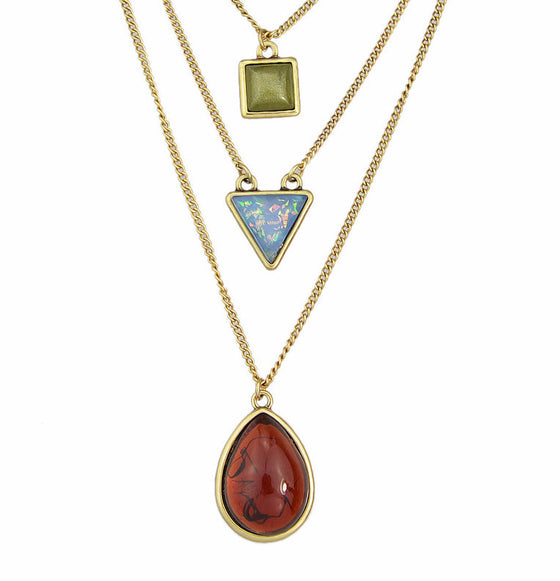 3 Shape Necklace - red gem pendant square triangle round