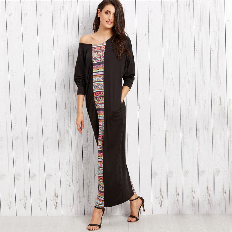 5 Star Looking Dress - woman maxi long dress black