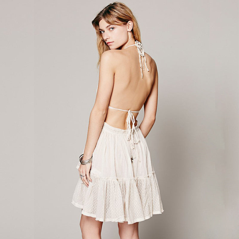 5 COLORS Holiday Dress - boho white backless sexy