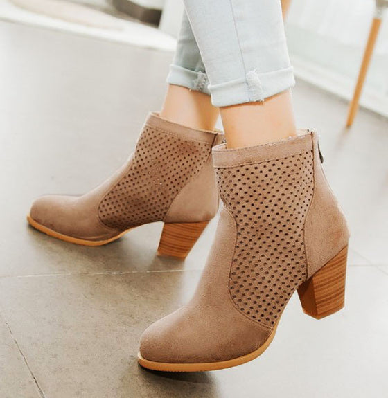 Erica Perforated Low Heel Boot