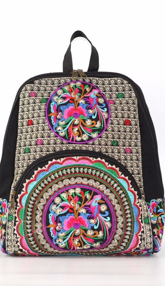 A Bag with Style - boho bohemian colorful back red