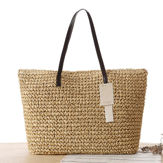 A Gift For You Straw Beach Bag - beige brown boho